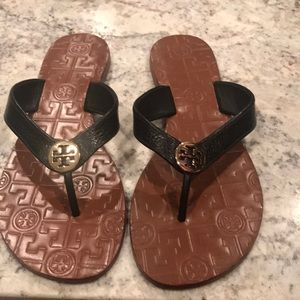 Black Tory Burch flip flops worn once